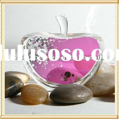 Popular Printed Optic Crystal Apple Paperweight for Souvenirs