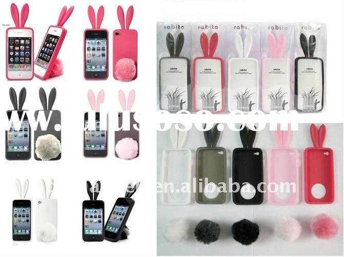 Rabbit Silicone Case Skin for IPhone 4 Stand Tail Holder