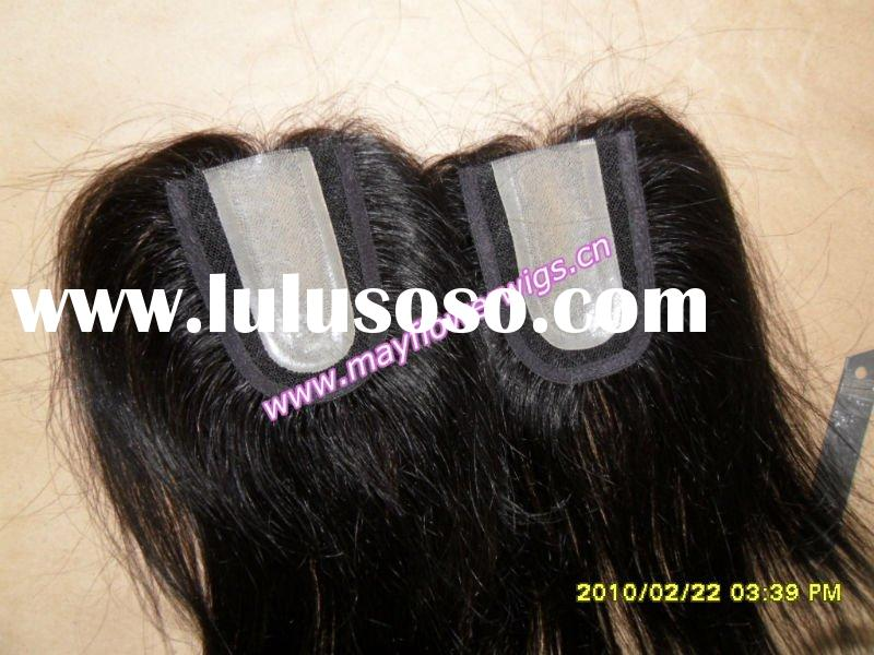Remy hair piece pu thin skin silk based top closure invisible