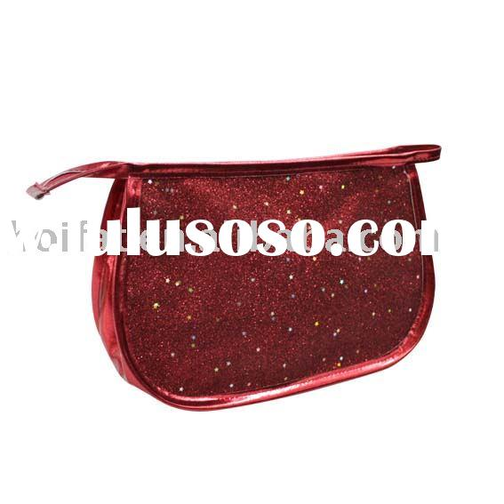 Shiny PU Cosmetic Bag Cosmetic Pouch Glitter Beauty Bag Make up Bag PVC cosmetic case Polyester Prin