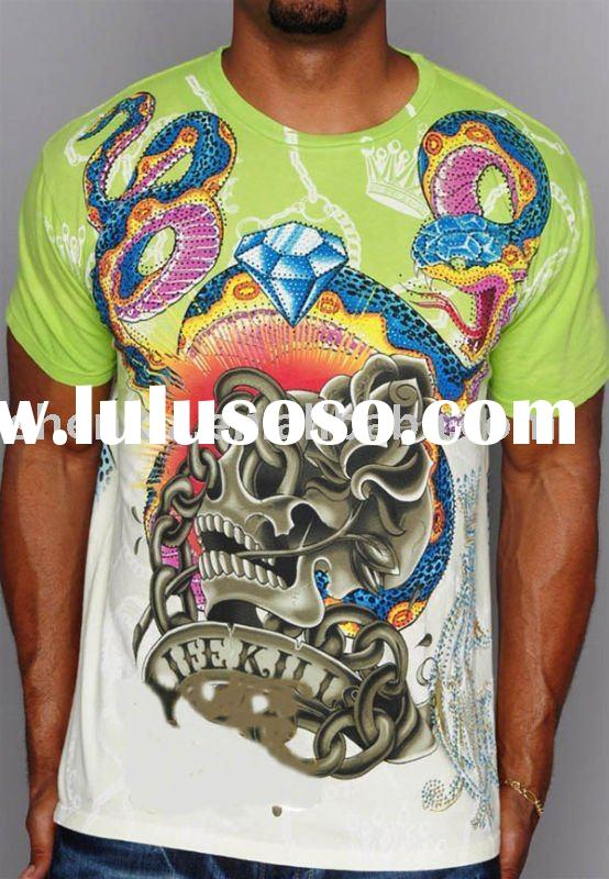 USA size 180gsm 65%polyester 35%cotton jersey Men's fashional thermal transfer printing t sh