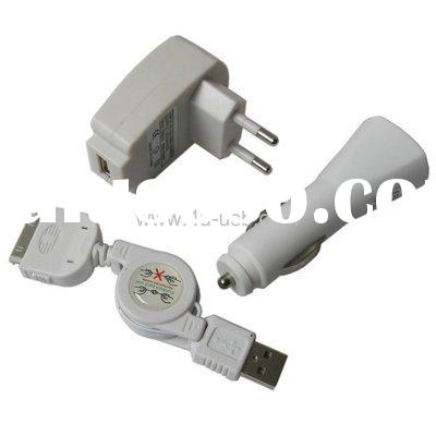 USB Cable+ Car Charger + USB Wall Charger for iPhone 3G/3GS
