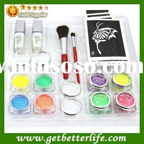 UV Glitter tattoo kit 8 colors UV powder/glue tube/brush/stencil Supply