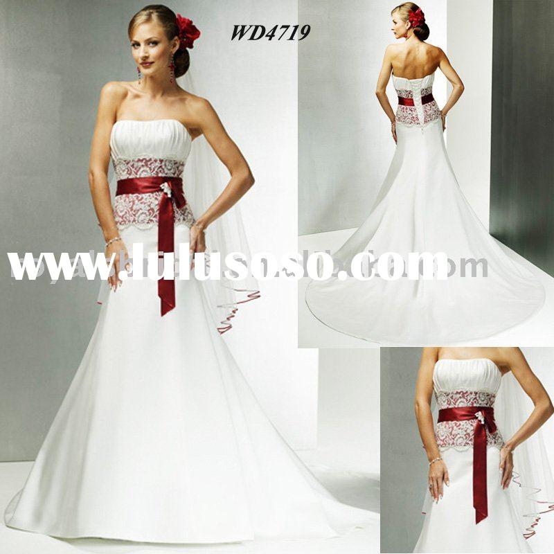 White Popular Elegant Red Belt Bridal Wedding Dress