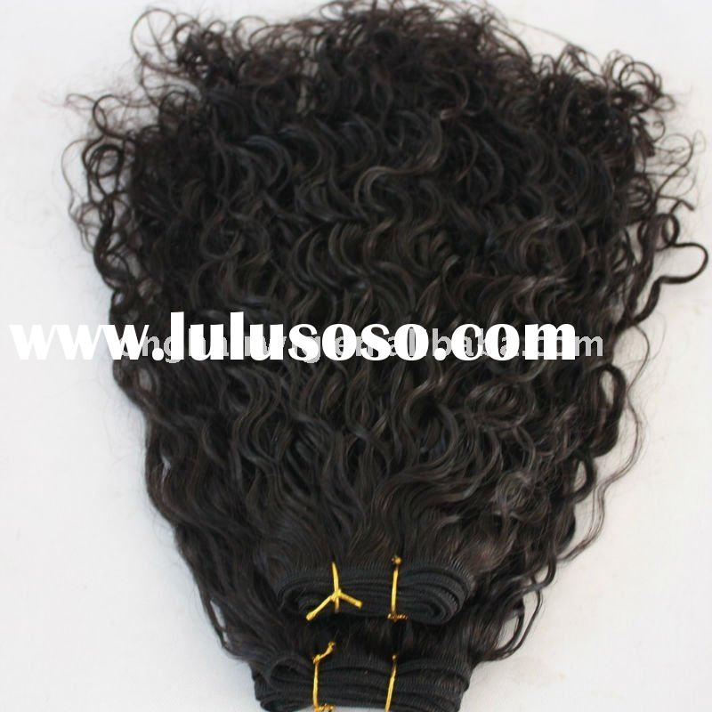 Whole sale 100% real human hair extensions curly Indian hair
