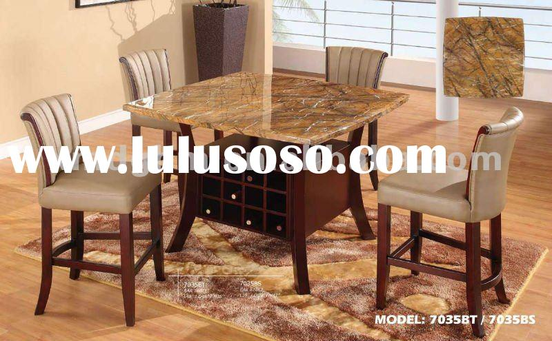 Wooden Dining Table With Marble Top, Wine Rack (LC-YF7035)