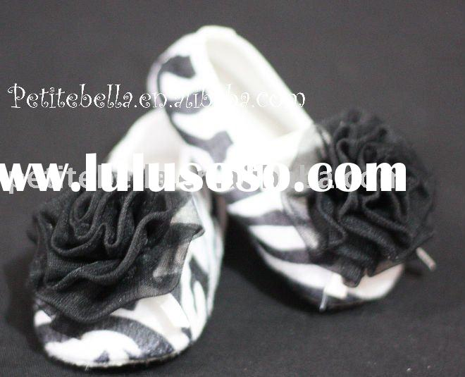 Zebra Print Shoes with Black Rosettes Pettishoes Crib Shoes MAS11