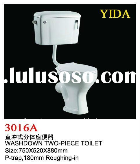 africa ceramic washdown two piece toilet with p-trap 180 mm