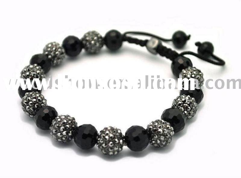 crystal ball and round faced cut crystal beads shamballa bracelets black and white