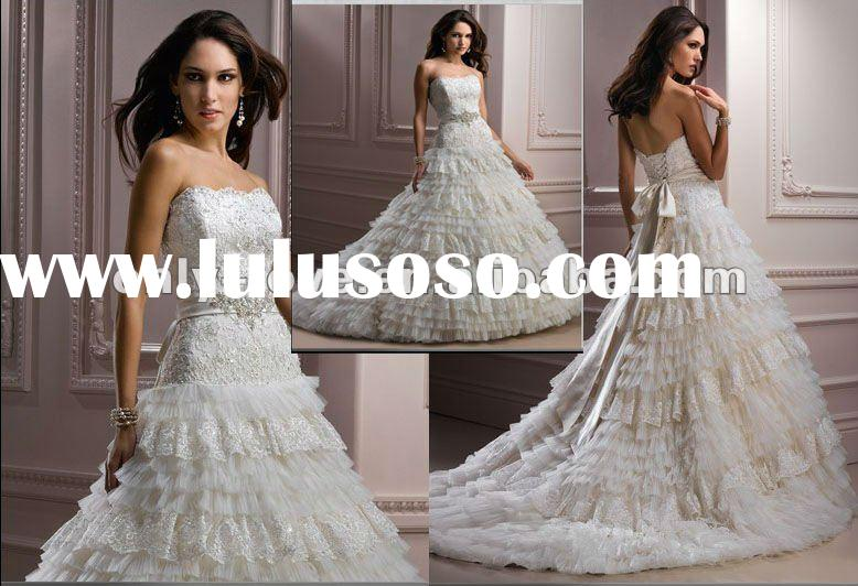 custom make bridal strapless lace tulle tiered cascade ball gown wedding dress with satin crystal bo