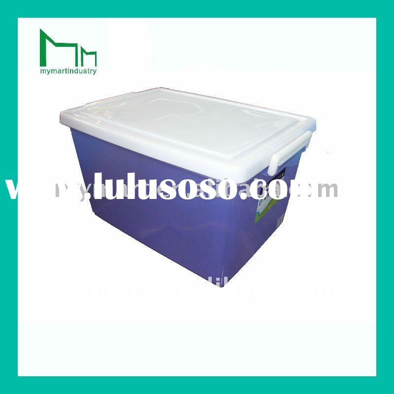 deep color plastic storage box with wheels