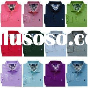 high quality men's 100%cotton solid color pique long sleeve polo shirt