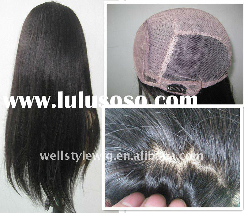 human hair lace wig with silk skin top