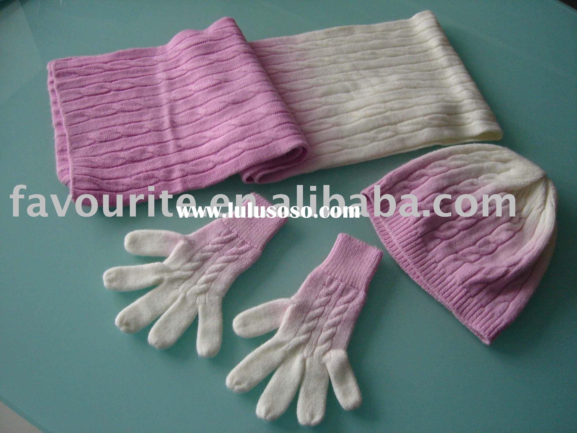 knitted hat,glove & scarf sets