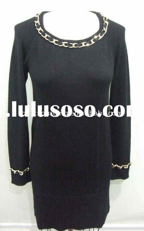 ladies fashion tunic length clothing 12gg knitted crew neck long sleeve merino wool winter dress wit
