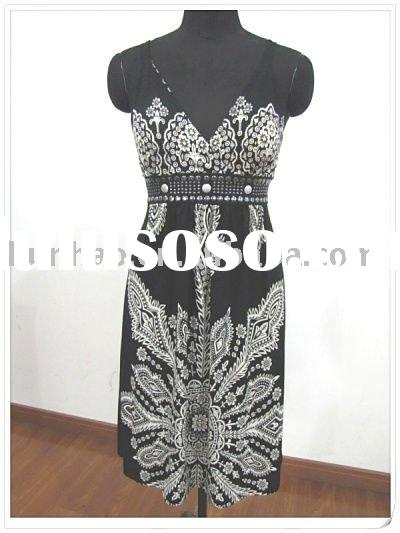 printed ladies suspender knitted dress for 2011 summer