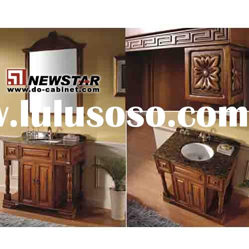 solid wood antique bath cabinet