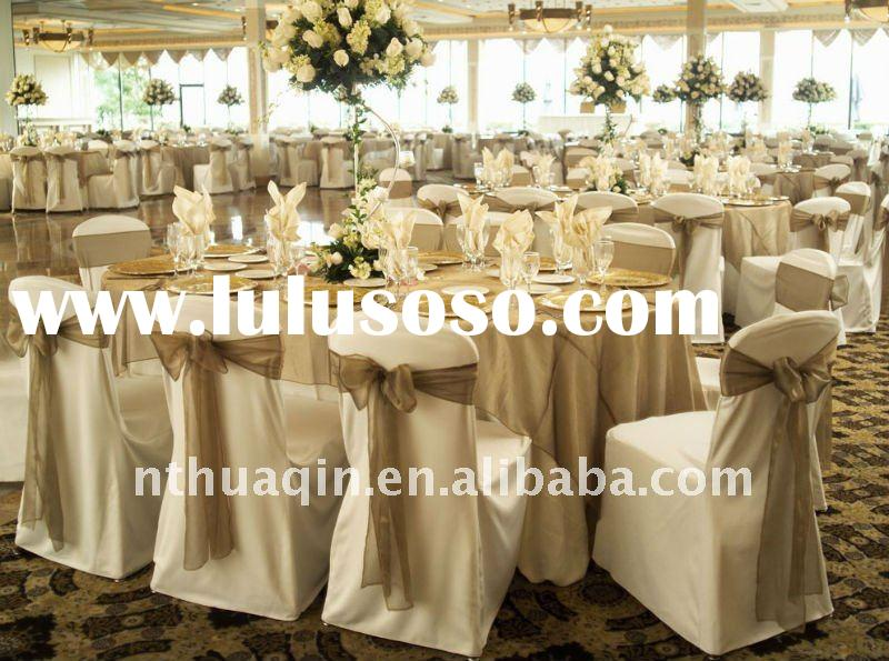 wedding polyester chair cover and banquet organza chair sashes