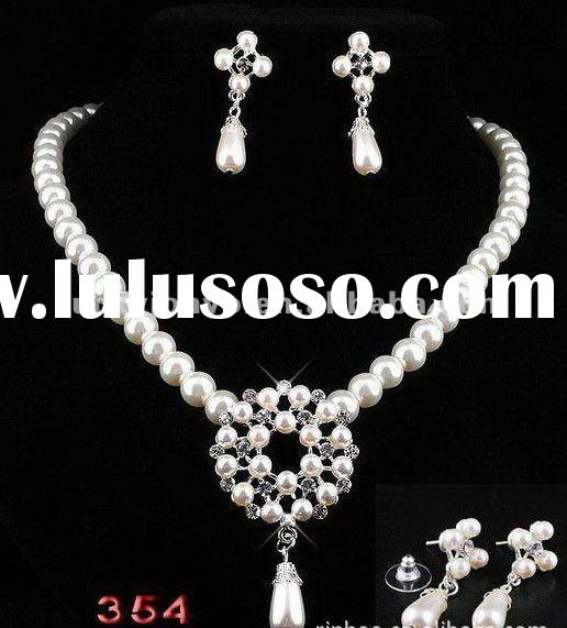 white artificial pearl crystal wedding jewelry sets fashion bridal jewelry sets