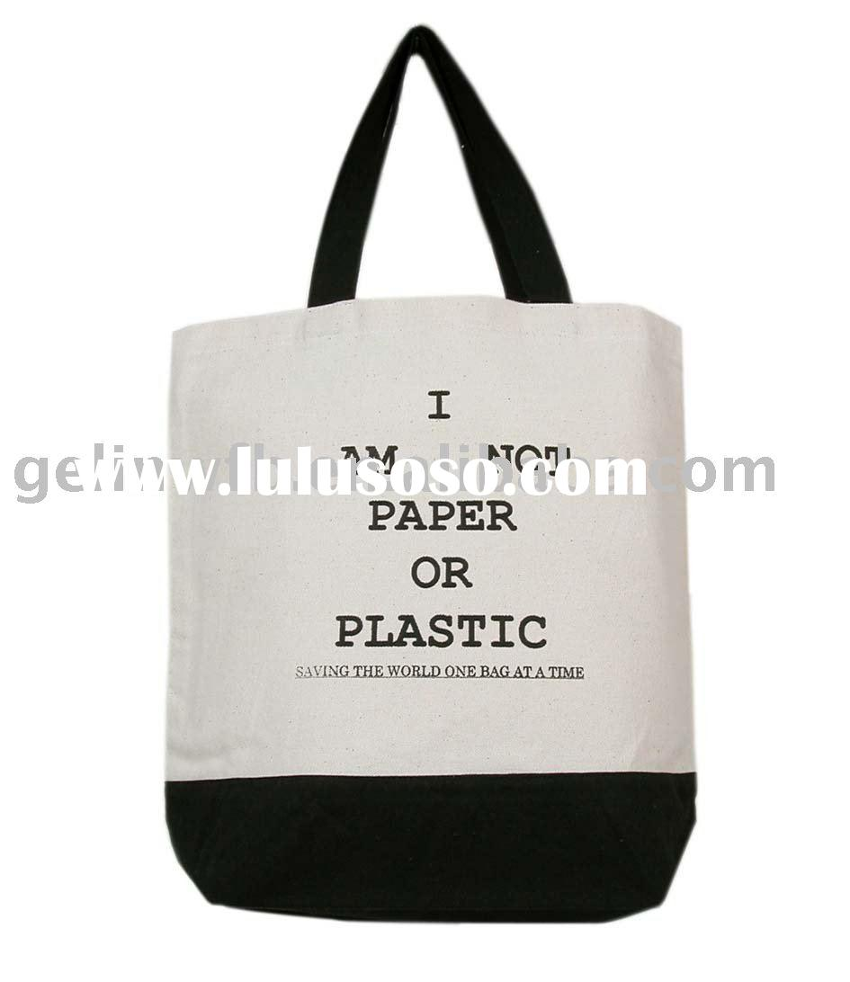 100% Cotton Canvas Tote Bag for shopping