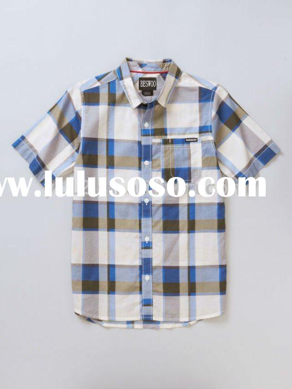 100% Cotton Washed Woven Boys Short Sleeve Shirt