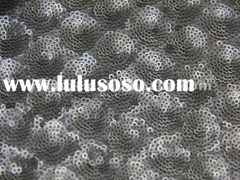 100%polyester profound sequin embroidery knitting fabric wedding party dress fabric