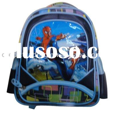 """14"""" Polyester woven spiderman pattern student backpack bag for kids"""