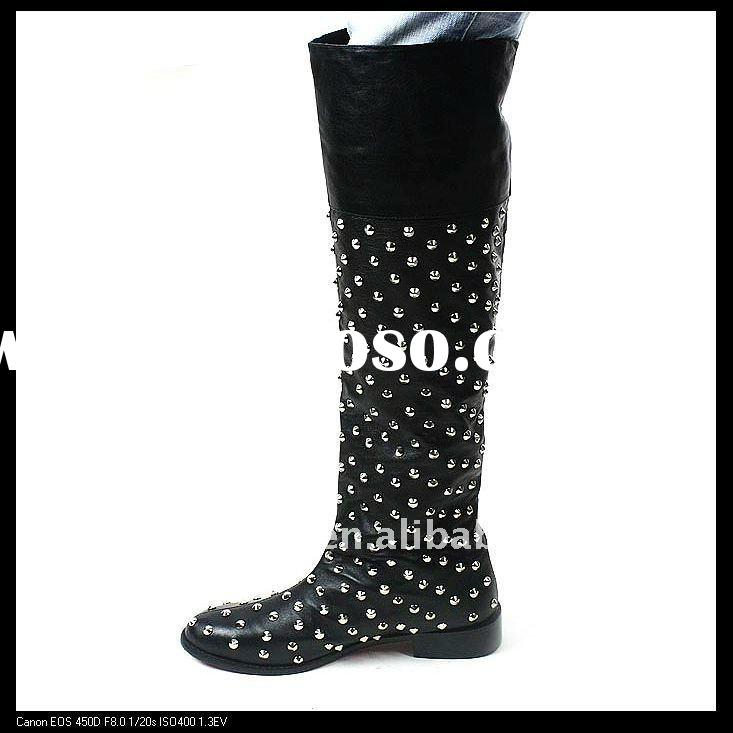 2011-2012 super beautiful authentic leather lady fashion thigh boots/knee boot decorated with silver