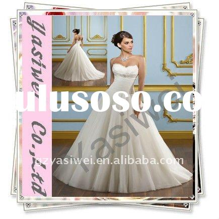 2011 Exquisite Organza Satin Strapless Princess Wedding Gown YSW-HS002