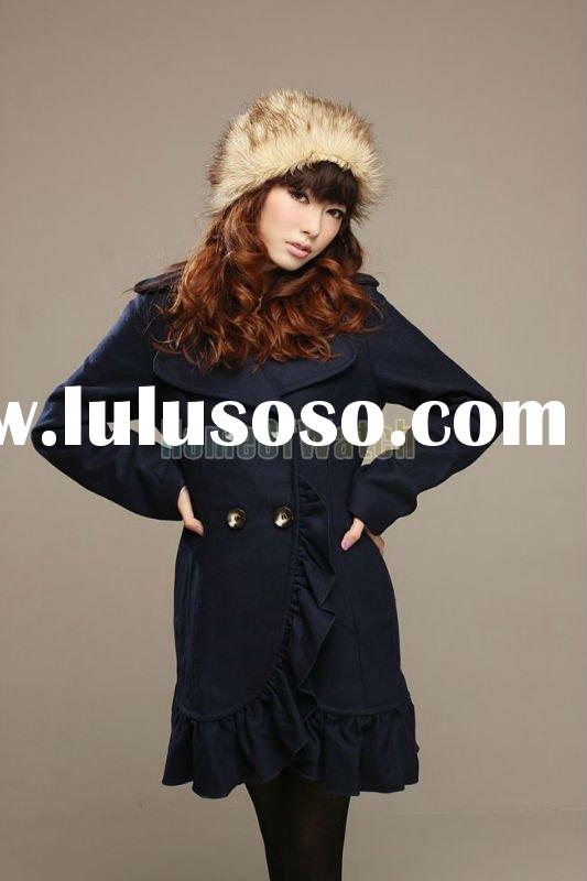 2011 Factory Price!! Viwill Navy Blue Lady Dust Coat Jacket Outerwear Fashion Coat in Stock!