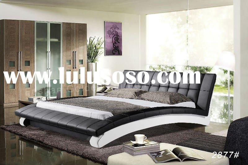 2011 High Quality Black Leather Bed Luxury Design 2877#