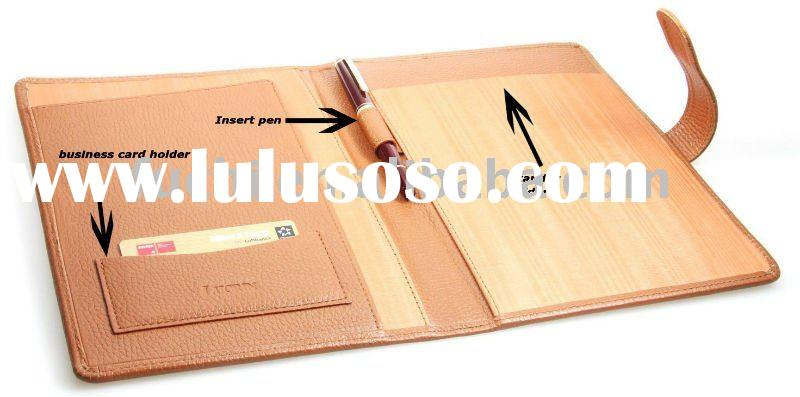 2011 Hot sale notebook cover leather with Pen and Card holder