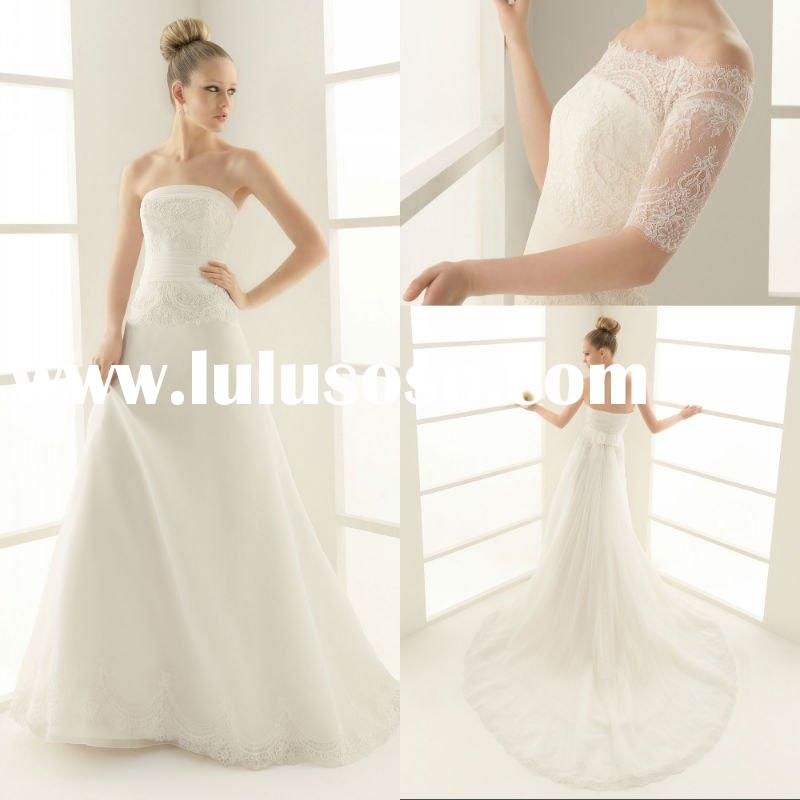 2011 Sizes Available Strapless Bridal Gowns Chapel Train A-line lace Appliqued Beaded Organza Wester