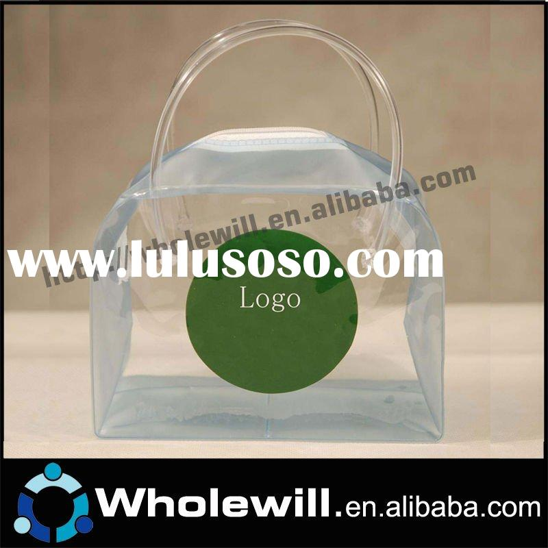 2012 Clear PVC zipper tote bag for hair extension