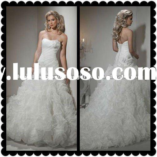 2012 Hot Sell Gorgeous A-Line Organza Wholesale Wedding Dresses Wedding Gowns MS-030