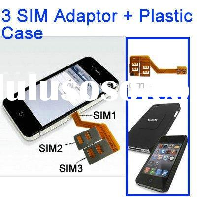 2 in 1 3 SIM Card Multi-SIM Card for iphone 4 + Plastic Case for iPhone 4