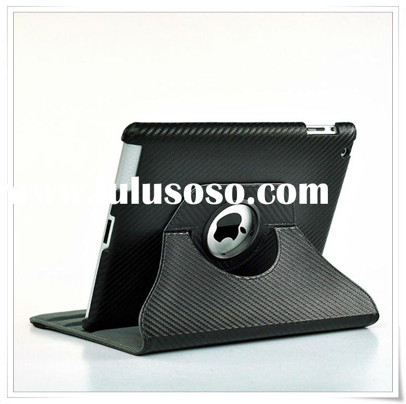360 iPad 2 Smart Cover Leather Case Rotating Stand Wake/Sleep Diamond Pattern