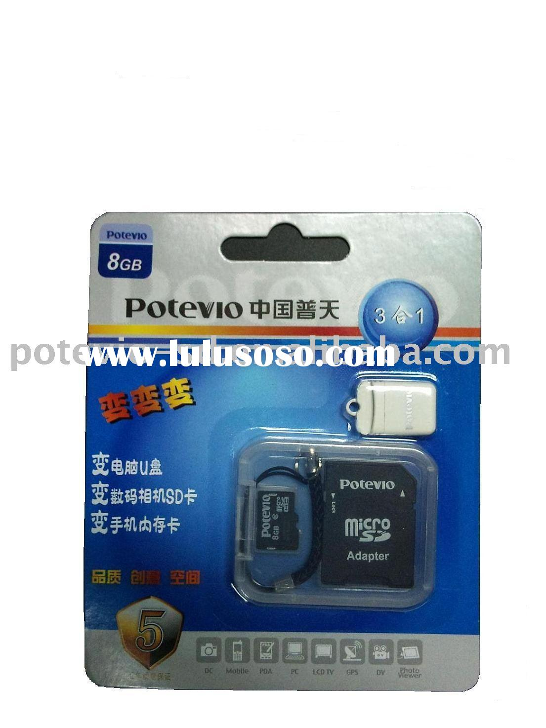 8GB MicroSD card with adapter and usb reader
