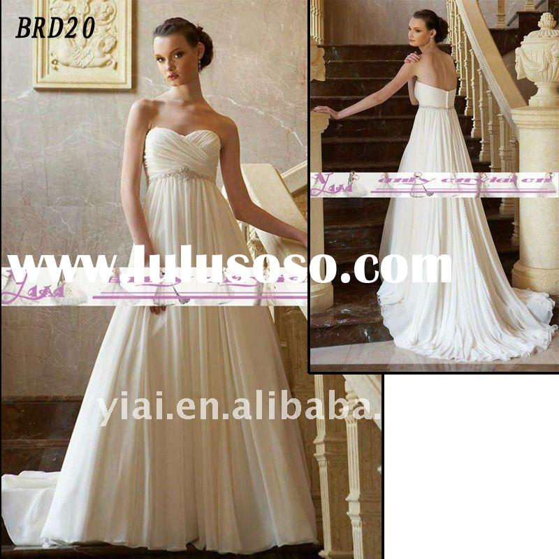 BRD20 Factory Outlet 2012 Beautiful Beaded Empire Waist Simple Draped Ruffle Fashion Chiffion Differ