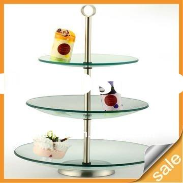 Clear Glass Three Layer Cake Tray