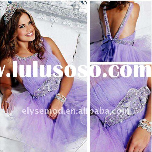 Custom Made Summer A-line Scoop Lilac Short Tulle Homecoming Dresses 2011
