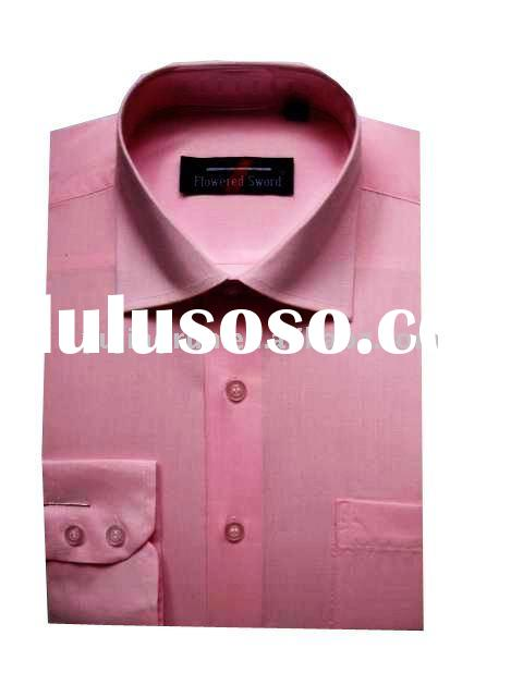 European polyester/cotton casual dress shirt with long sleeves for men