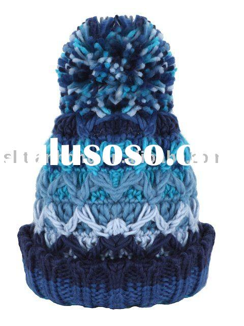 Fancy Hand Crocheted Beanie With Big Pompom Top and Rib Edge