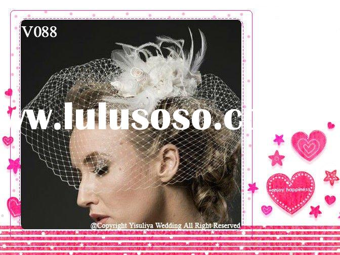 Fashion Short Hair Flower Feather Rose Bird Cage Bridal Veil