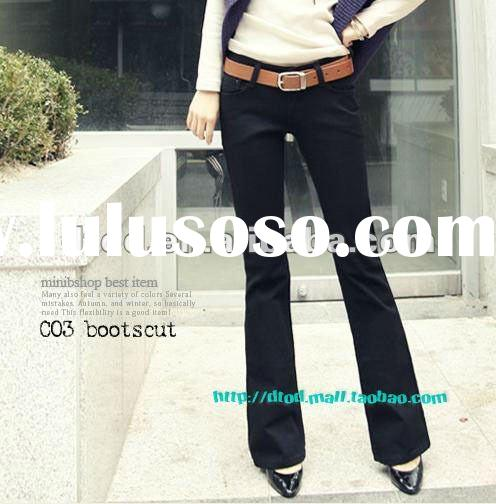 Fashion ladies black cotton skinny pants flared pants