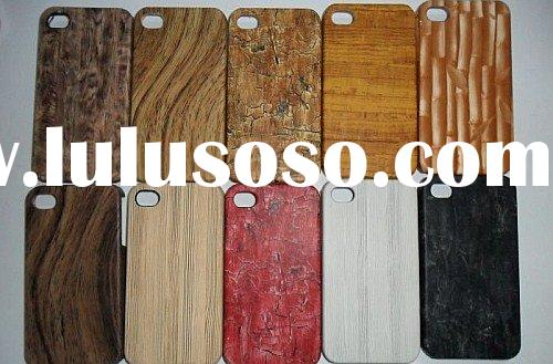 Hot Sale for iPhone 4 32g wood shape leather hard case protective mobile phone skin case