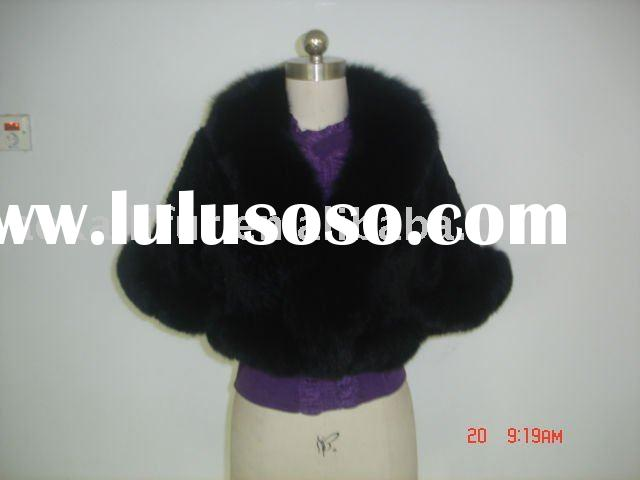KNITTED REX RABBIT FUR JACKET FUR COAT WITH FOX COLLAR -black