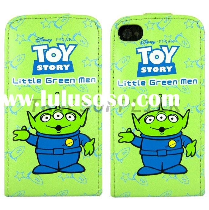 Leather Cases Cover Pouch Little Green Man Pattern For Apple iPhone 4