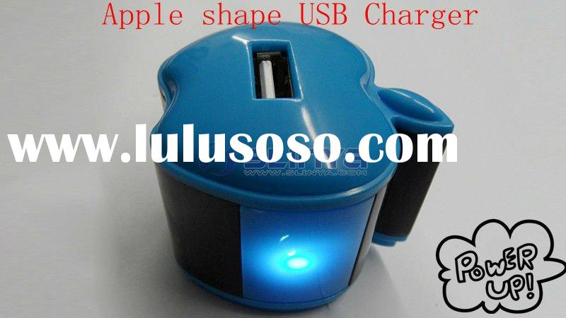 Lovely Apple shape USB Charger for Iphone Ipod Ipad accept OEM order