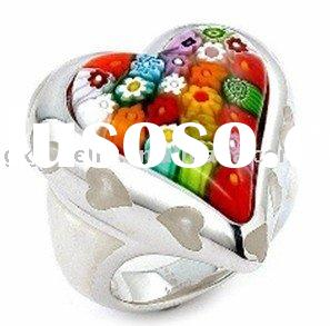 R00883 newly stainless steel colorful murano glass ring